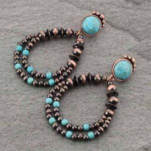 Navajo Style Pearl Post Earrings